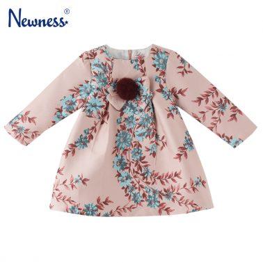 Официална детска рокля с цветя и помпон розова