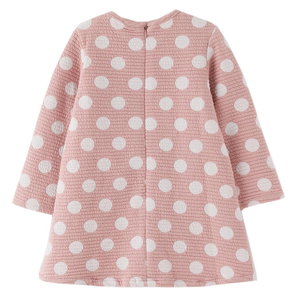 Плътна детска рокля на точки в розово