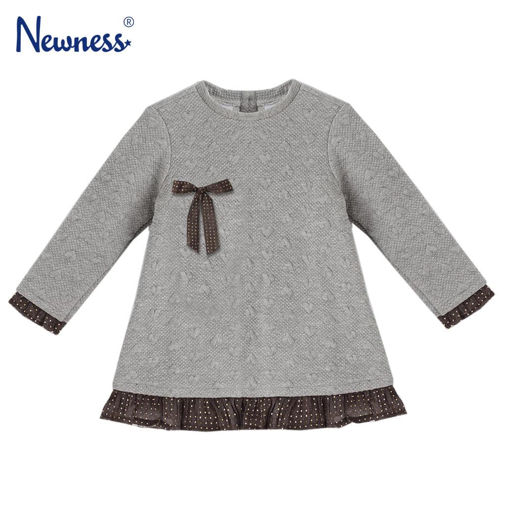 Спортно-елегантна детска рокля на релефни сърца в сиво