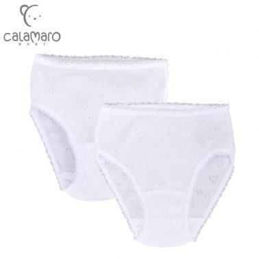 Комплект 2 броя детски бикини с ажурни сърца в бяло