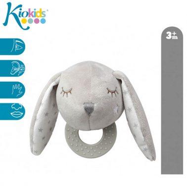Бебешко плюшено зайче с дъвкалка в светло сиво