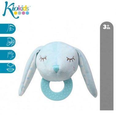 Бебешка плюшена играчка зайче с дъвкалка в светло синьо
