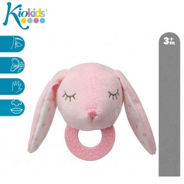 Бебешка играчка плюшено зайче с дъвкалка в розово