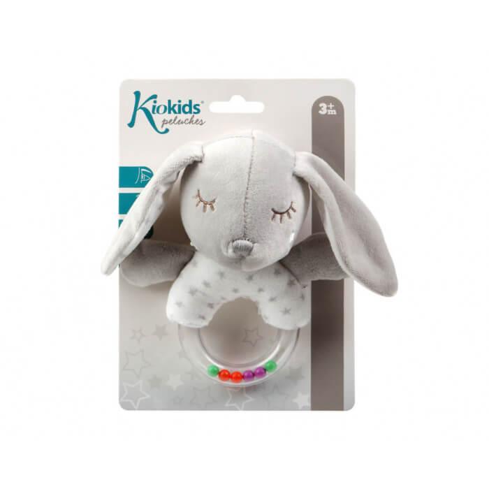 Бебешка дрънкалка плюшено зайче в светло сиво