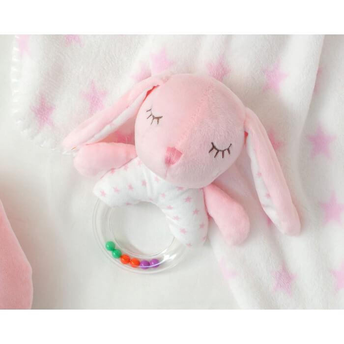 Бебешка играчка плюшено зайче с дрънкалка в розово