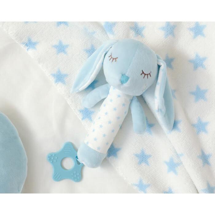 Бебешка играчка плюшено зайче с дъвкалка в светло синьо