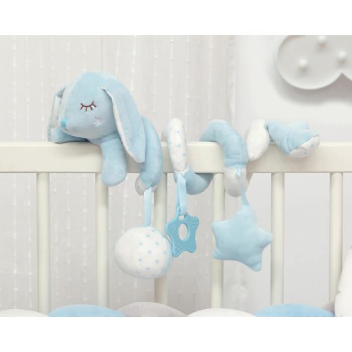 Плюшена играчка зайче спирала в светло синьо