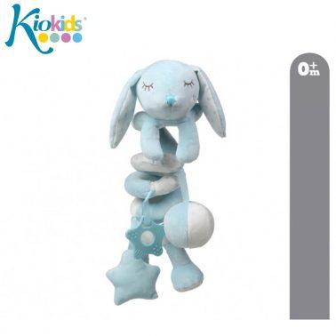 Бебешка плюшена играчка за легло зайче в светло синьо