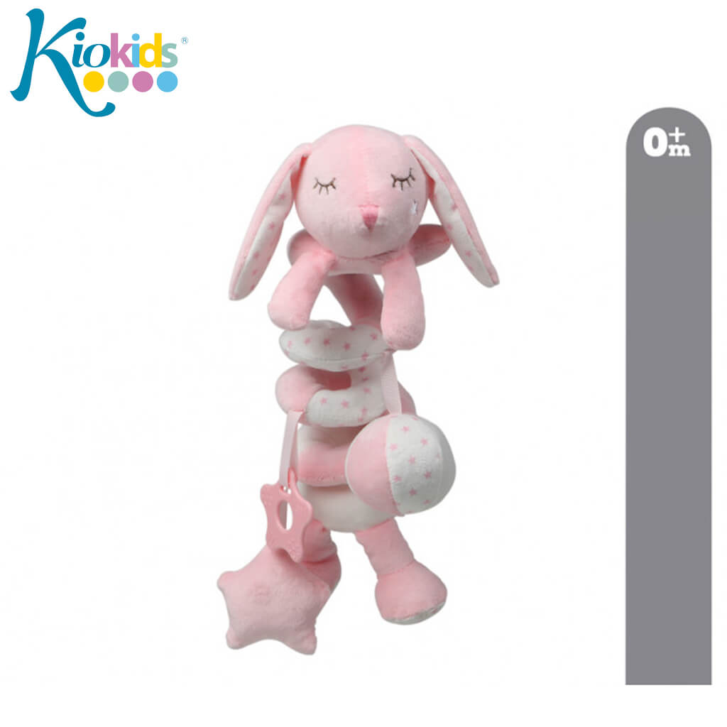 Бебешка плюшена играчка спирала с висулки зайче в розово