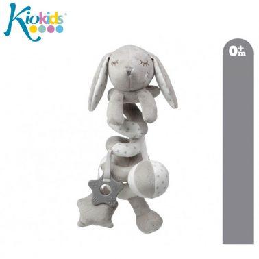 Бебешка плюшена играчка спирала с висулки зайче в светло сиво