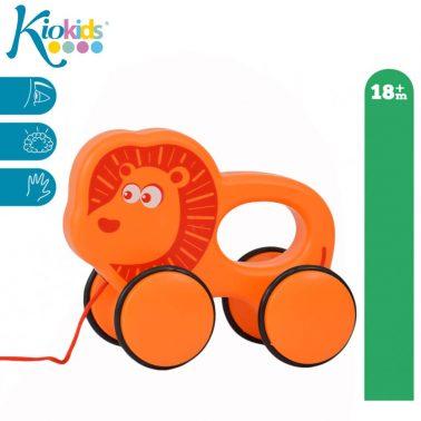 Бебешка играчка на колелца за дърпане лъвче