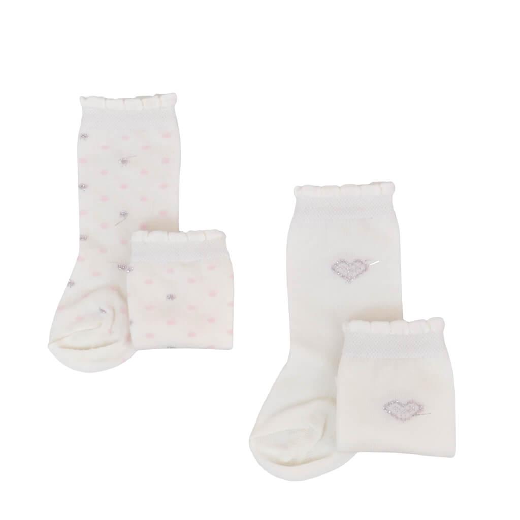 Бебешки чорапи със звездички в розово