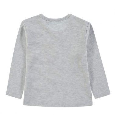 Бебешка памучна блузка с щампа цветно сърце в сиво
