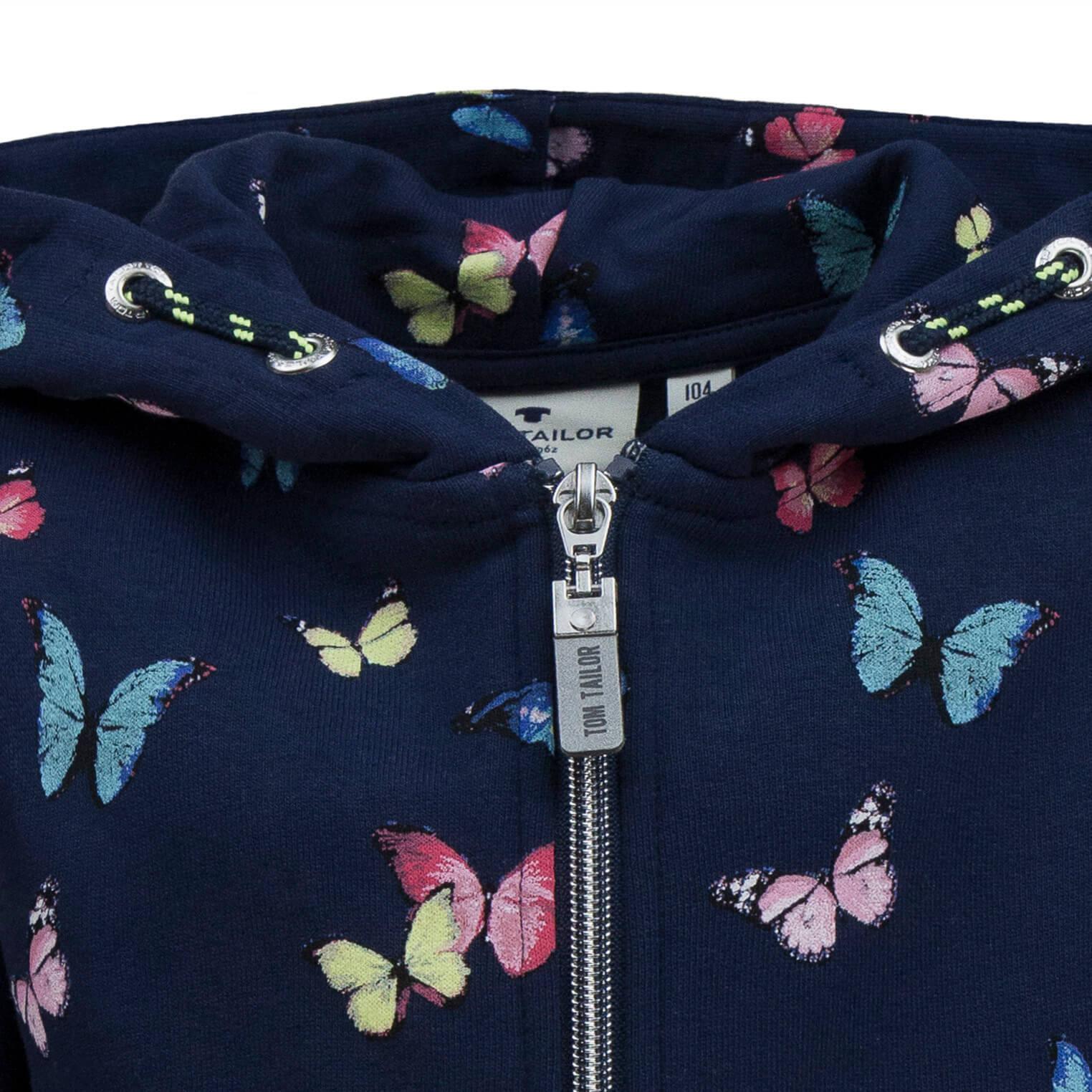Детски ватиран суитшърт с пеперудки в тъмно синьо