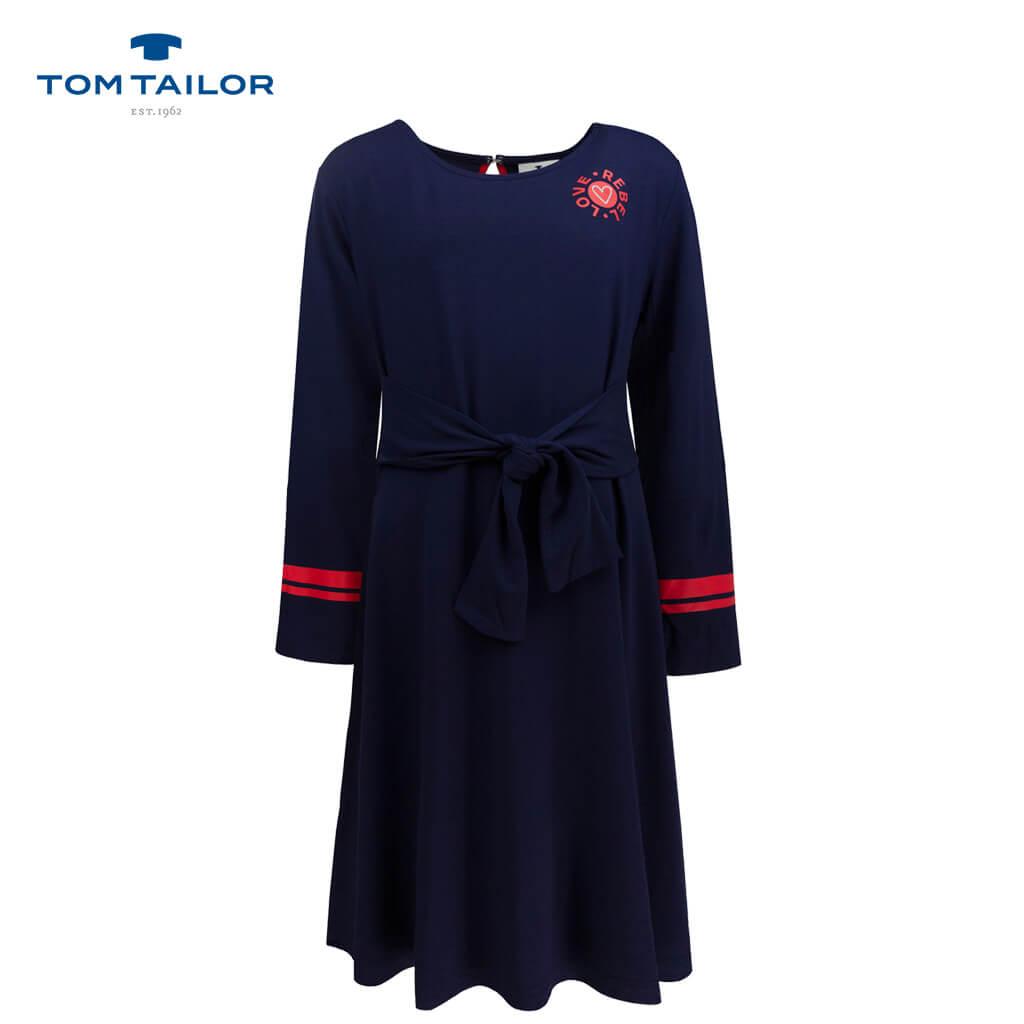 Спортна трикотажна рокля с колан в тъмно синьо