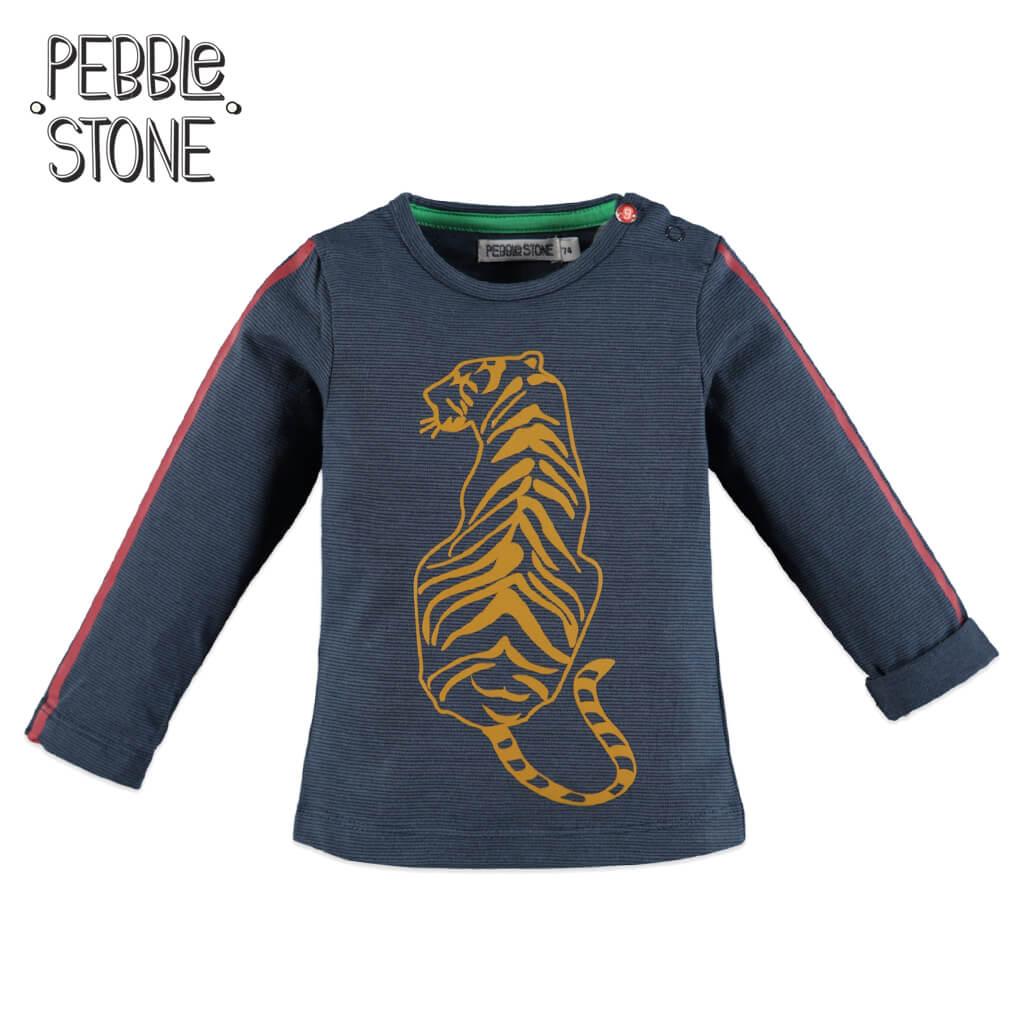 Бебешка блуза в ситно райе с тигър в тъмно синьо
