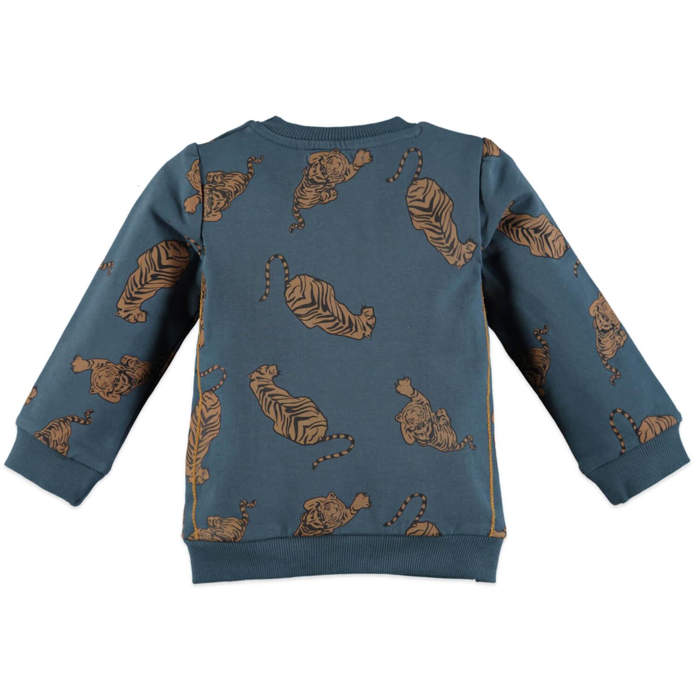 Бебешка ватирана блуза с тигри в петролено синьо