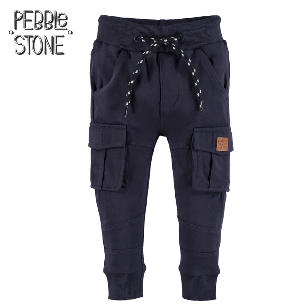 Долнище със странични джобове в тъмно синьо