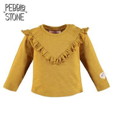 Бебешка блуза с къдрички на деколтето в жълто