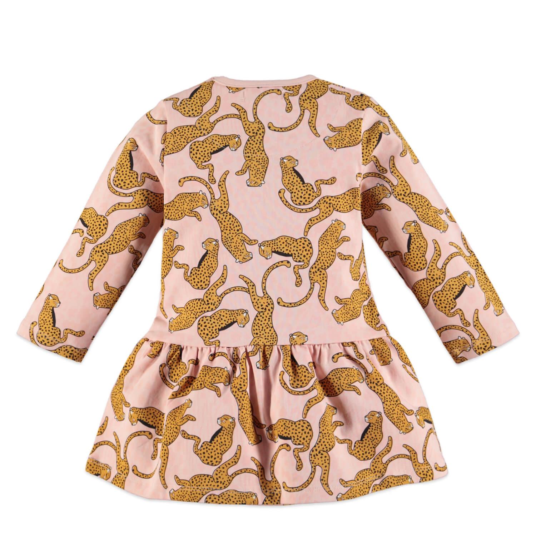 Бебешка памучна рокля с дълги ръкави и принт леопарди розова