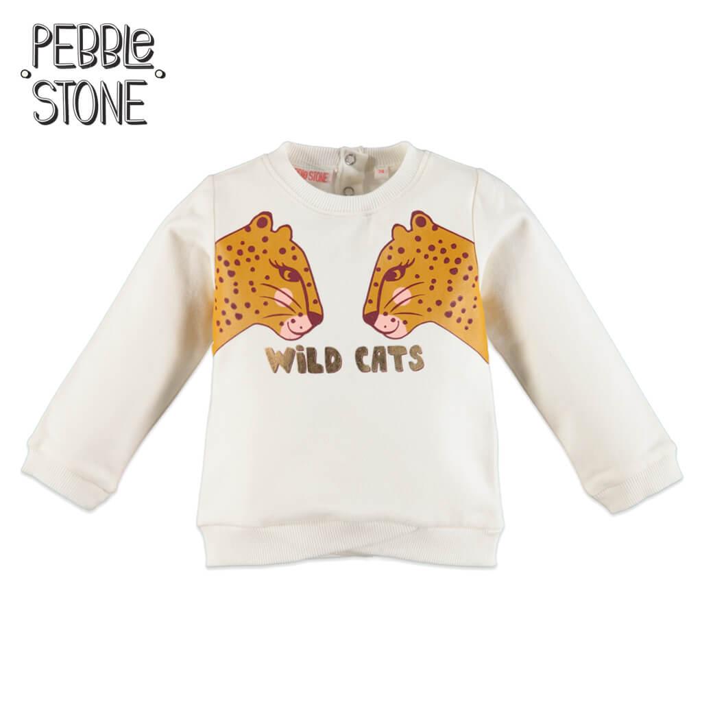Ватирана бебешка блуза с диви котки екрю