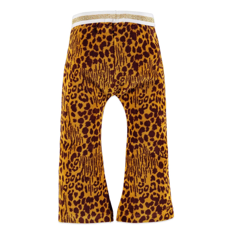 Бебешки плюшен панталон с леопардова щампа в жълто