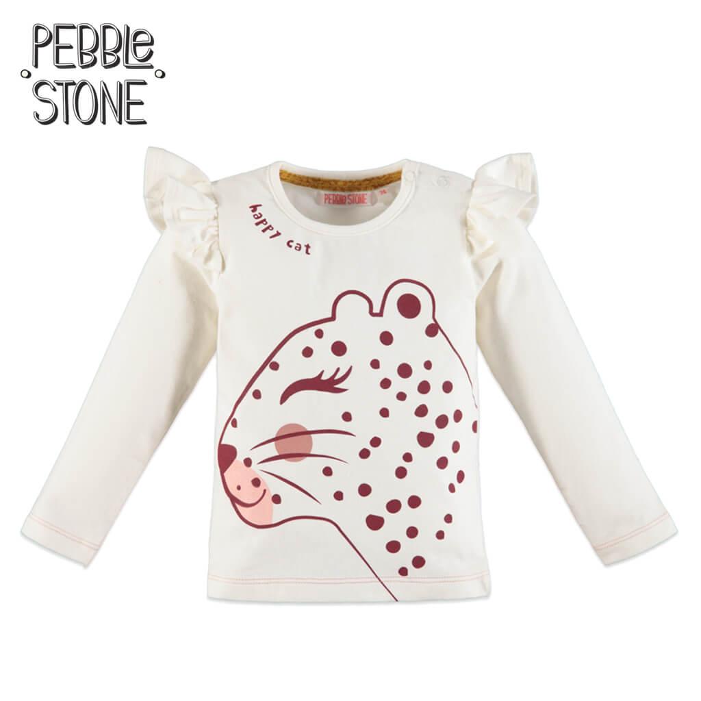 Блуза с дълги ръкави и принт с леопард в бяло