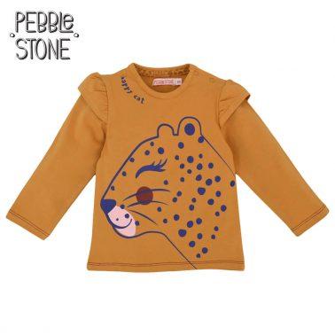 Блуза с дълги ръкави и принт с леопард в жълто