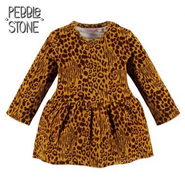 Бебешка рокля от плюш с леопардов принт в жълто