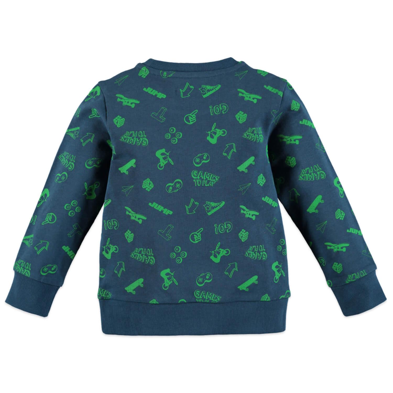 Детска блуза с геймърски щампи в син петрол
