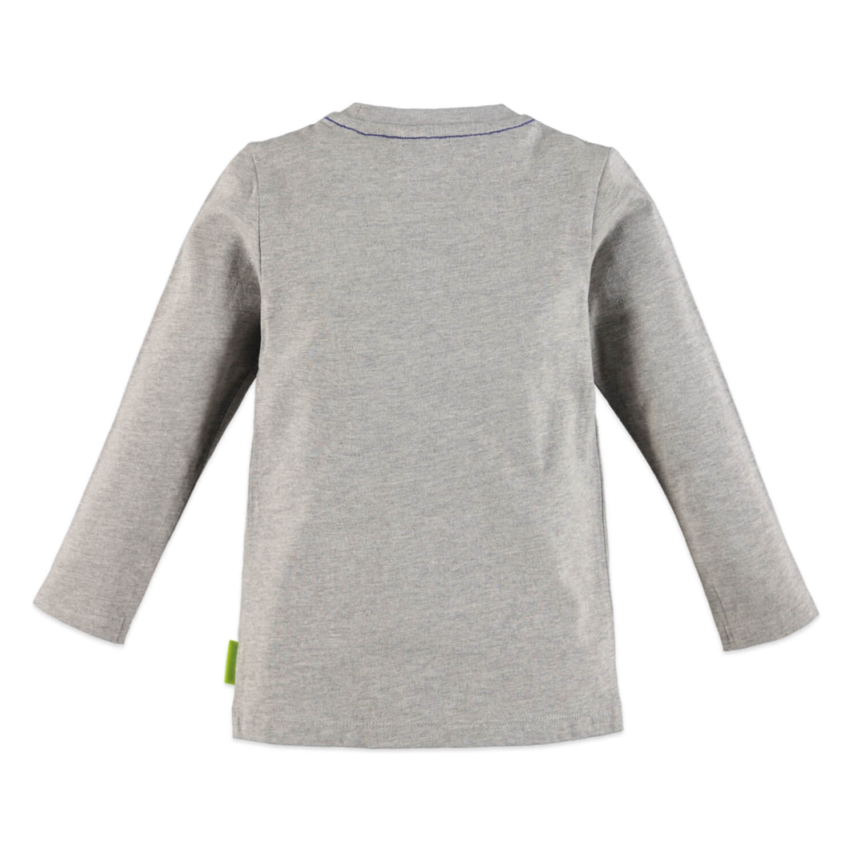 Детска памучна блуза с апликация в сиво