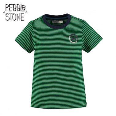 Детска памучна блуза в райе с гумирана апликация в зелено