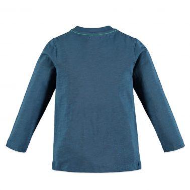 Детска блуза с дъкги ръкави и гумирана апликация Level Up цвят син петрол