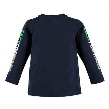 Памучна блуза с дълги ръкави с надписи в тъмно синьо