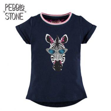 Детска тениска със зебра с пайети в тъмно синьо