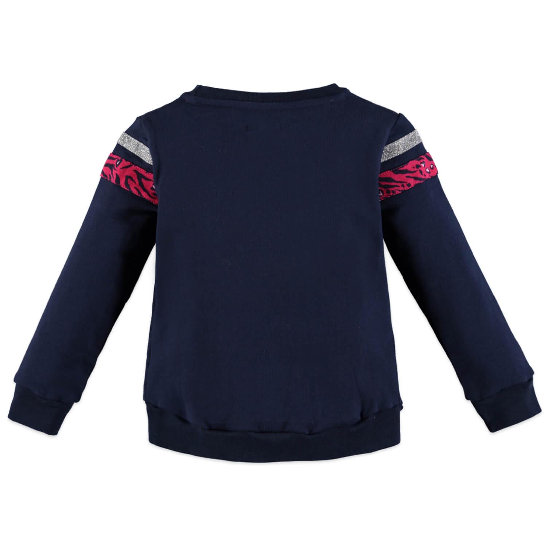 Плътна детска блуза с брокат в тъмно синьо