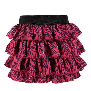 Детска пола с волани и ластик в розово