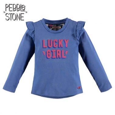 Детска блуза с дълги ръкави и къдрички на раменете в синьо