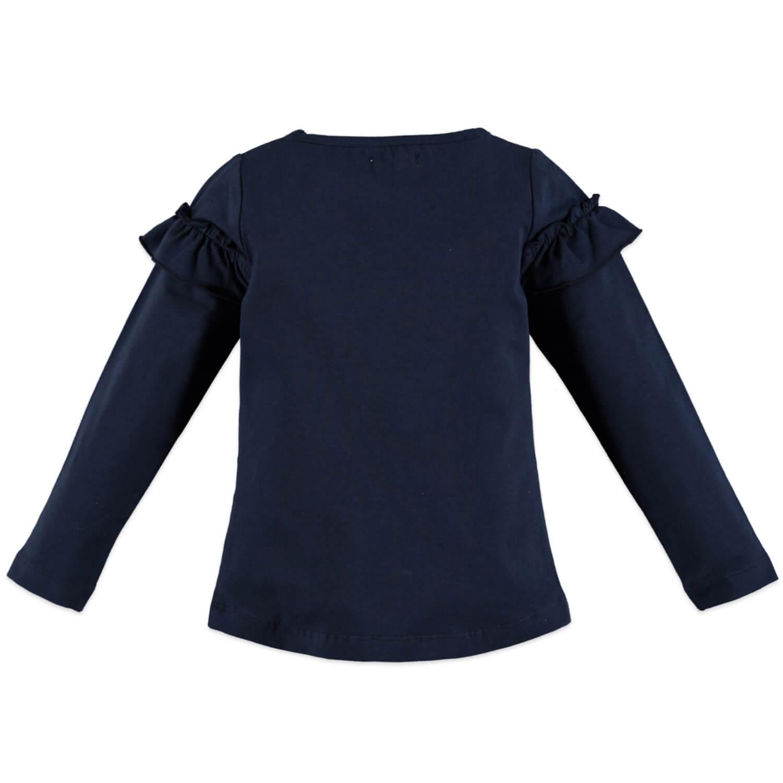 Детска блуза с дълги ръкави и къдрички на деколтето в тъмно синьо