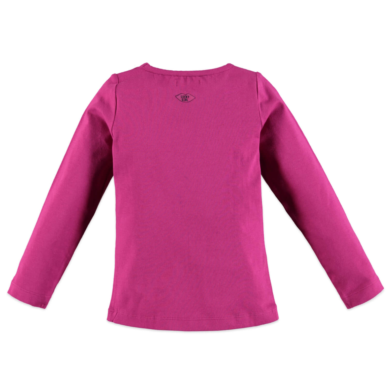 Памучна блуза с дълги ръкави и надпис с пайети в розово