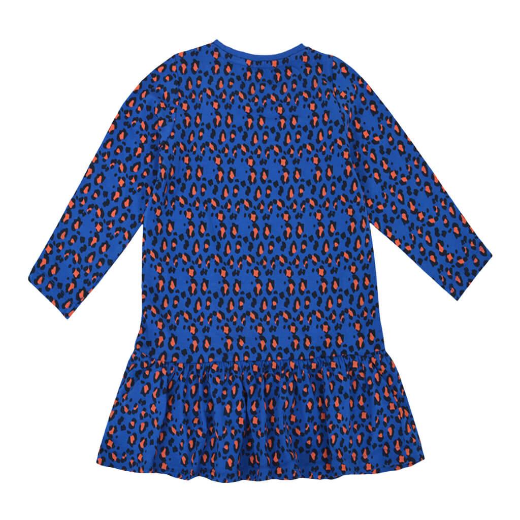 Детска рокля с дълги ръкави и животински принт в синьо