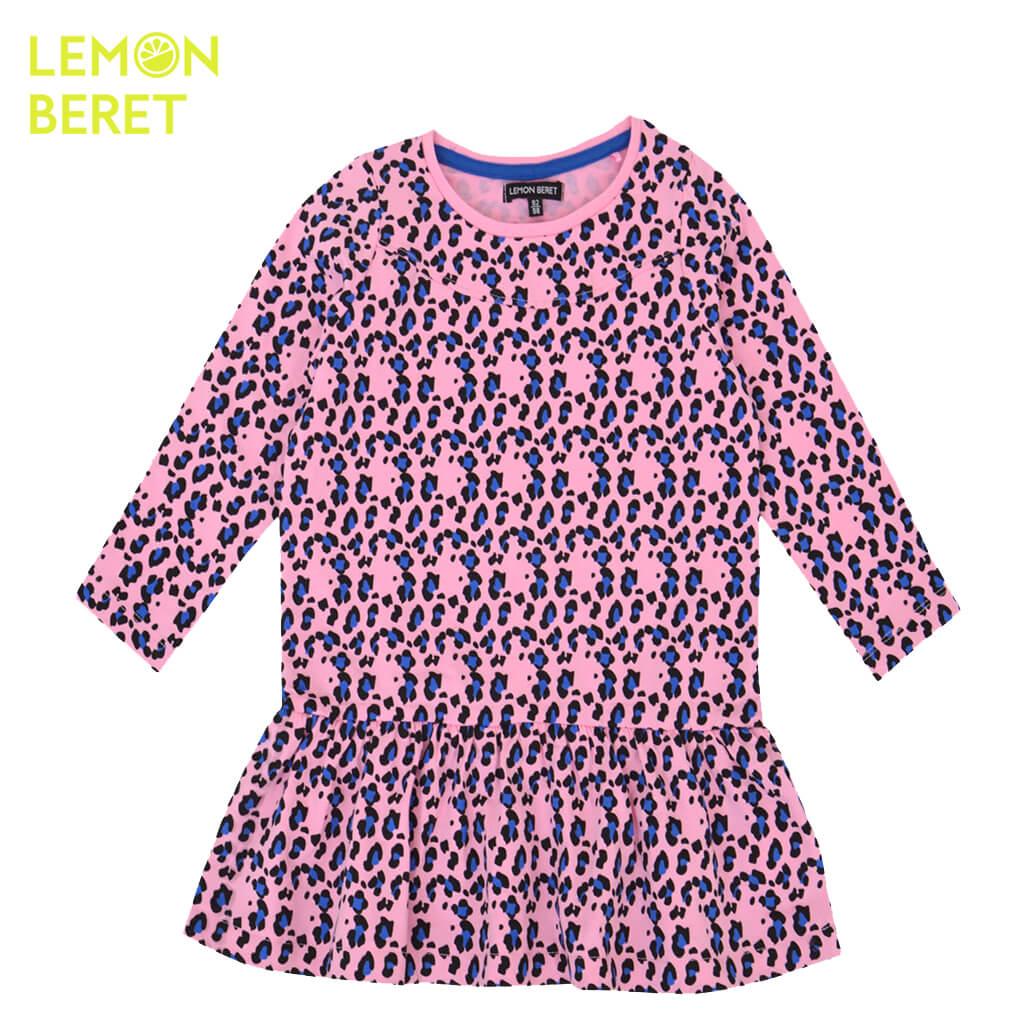 Детска рокля с дълги ръкави и животински принт в розово