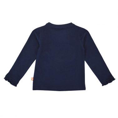Блуза с релефна апликация с лисичка от еко памук в тъмно синьо