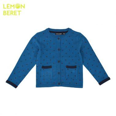 Плетена жилетка на точки с джобчета в синьо