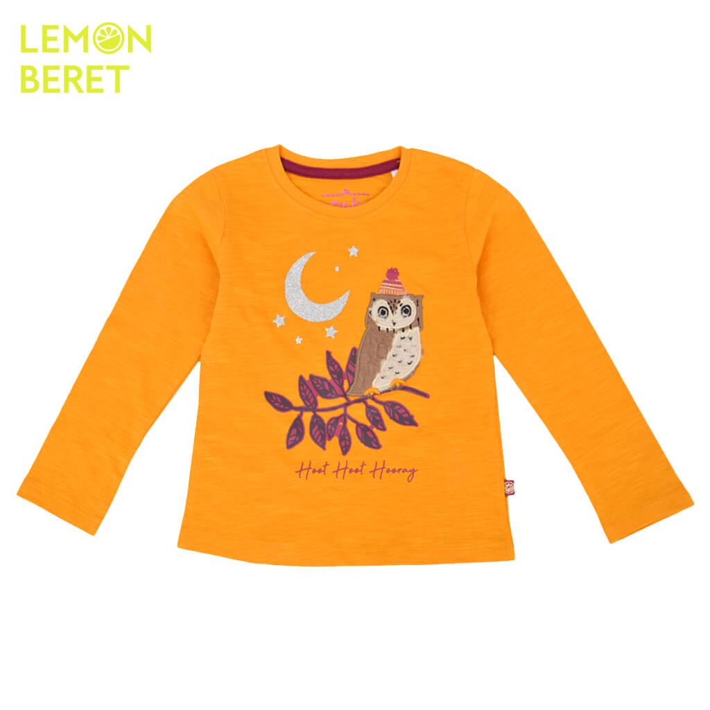 Ефектна детска блуза от био памук с бухалче в тъмно жълто