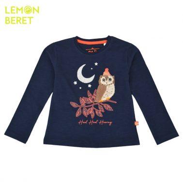 Ефектна детска блуза от био памук с бухалче в тъмно синьо