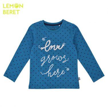 Ефектна блуза на точки от био памук с блестящи надписи в синьо