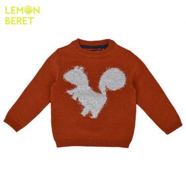 Ефектен детски пуловер с блестяща катеричка в керемидено