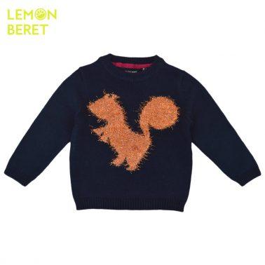 Ефектен детски пуловер с блестяща катеричка в тъмно синьо