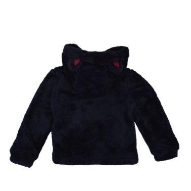 Детски суитшърт от силиконов полар с качулка с уши в тъмно синьо
